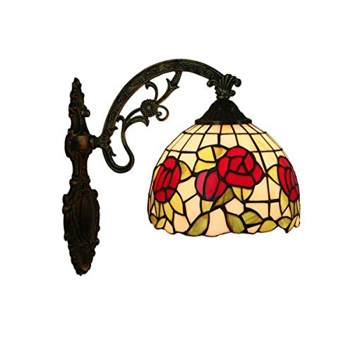 Tiffany-stil-rote Rose (GDLight Tiffany-Stil rote Rosen Wandleuchte Lampe, 8-Zoll-Glasmalerei Wandleuchte Vintage Spiegel Front Lampe für Wohnzimmer Schlafzimmer Gang Flur Korridor)