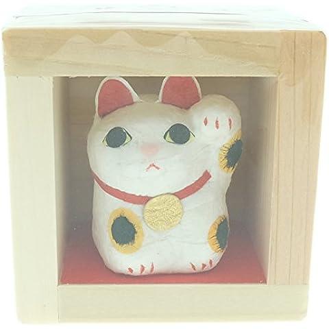 Onao dipinta a mano con carta Washi tape, realizzato a mano, motivo: Maneki Neko Lucky Cat Craft Beckoning mano sinistra Up Mascot-Statua in miniatura Fuku Masu-Statuetta in legno giapponese felicità, Giappone, Made in