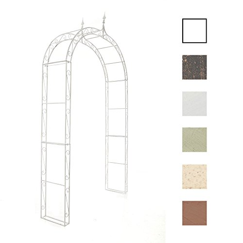 CLP Arche à rosiers en métal Lenz, Arcade pour rosiers grimpants, Ultra-élégant et très Stable, Blanc Antique