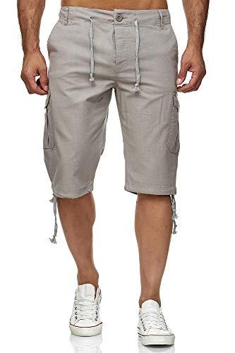 Reslad Leinen Cargo Shorts Männer Strandhose Herren Leinenhose 3/4 Hose Freizeit Kurze Hosen Sommer Bermudas RS-3001 Hellgrau L (Relaxed Fit-yoga-hosen)