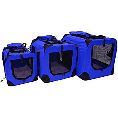 Premium Lightweight Folding Travel Pet Carrier with Carry Handles - Strong and Light Tubular Steel Frame for Strength and Stability - Ventilated Mesh Windows and Roll Up Zipped Doors - Soft Fleece Mat - Handy Storage Compartment and Removable Bag for Toys