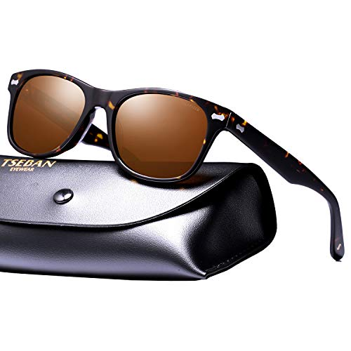 TSEBAN Retro Polarisierte Damen Sonnenbrille Herren Sonnenbrille 100% UV400 Schutz Fahrer Brille Acetat Rahmen (Damen, Rahmen: Schildpatt; Linsen: Braun)