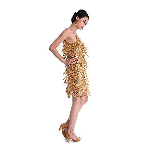 SymbolLife Latine Strap Robe Paillettes Tassel Rumba danse Ballroom Deguisements de femmes Lady Or