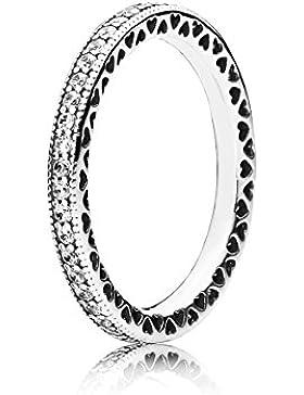 Pandora Damen-Ring Unendliche Herzen 925 Silber Zirkonia transparent - 190963CZ