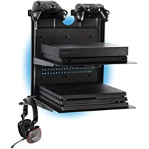 GameSide Bundle Double Shot - Soporte de pared horizontal con ventiladores, USB led lights strip para PS4, Slim y Pro, PS3, Xbox One X, Xbox One S, Xbox 360 | Espacio 2 pad | Negro