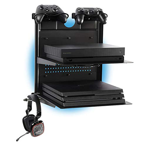 GameSide Bundle Double Shot - Supporto da parete orizzontale con ventole di raffreddamento, led multicolore per PS4, Slim e Pro, PS3, Xbox One X, Xbox One S, Xbox 360 | Spazio per 2 Pad | Nero
