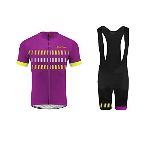 Uglyfrog maglia da ciclismo a manica corta da uomo con pantaloncino con bretelle - pantaloncini imbottiti da bici abbigliamento tute traspiranti ad asciugatura rapida body