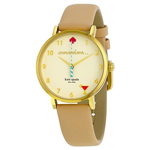 Kate Spade Damen Analog Quarz Uhr mit Leder Armband 1YRU0484