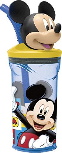 Mickey Mouse - Vaso plastico con figurita 3d, tapa y pajita 350 ml (Stor 19066)