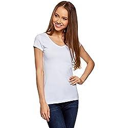 oodji Collection Mujer Camiseta Básica con Escote en V sin Etiqueta, Blanco, ES 38 / S