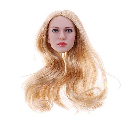 Perfeclan 1/6 Weiblicher Headsculpt Frauenkopf Haare für Action Figuren, Haarfarben wählbar - Golden