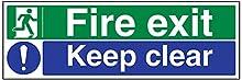 vsafety 14012bj-r Fire Exit/Keep Chiara FIRE Exit sign, 1 mm in plastica rigida, paesaggio, 450 mm x 150 mm