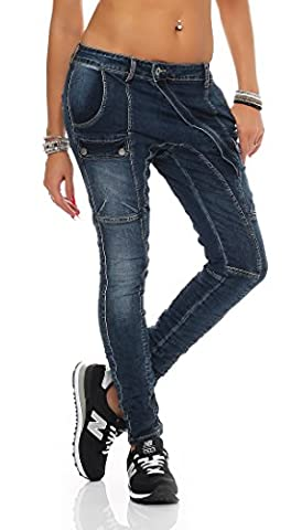 SKUTARI Damen - Jeanshose Stretch Boyfriend Cargo , Blau , Gr. XL (Damen Cargo-stil Jeans)
