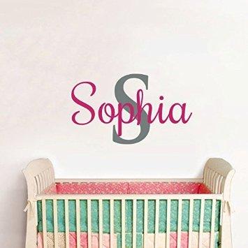 d Aufkleber personalisiert Name Initialen für Mädchen Schlafzimmer Baby Dusche Wand Decor ()