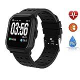 EFO SHM EFO SHM Smartwatch Fitness Armband Blutdruck Uhren Fitness Uhr Wasserdicht Fitness Tracker Pulsmesser Touchscreen Sportuhr Schrittzähler Stoppuhr für Damen Herren SMS Beachten für Android iOS