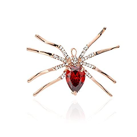 Qise Cute Spider Glass Rhinestone Brooch Pins by Qise