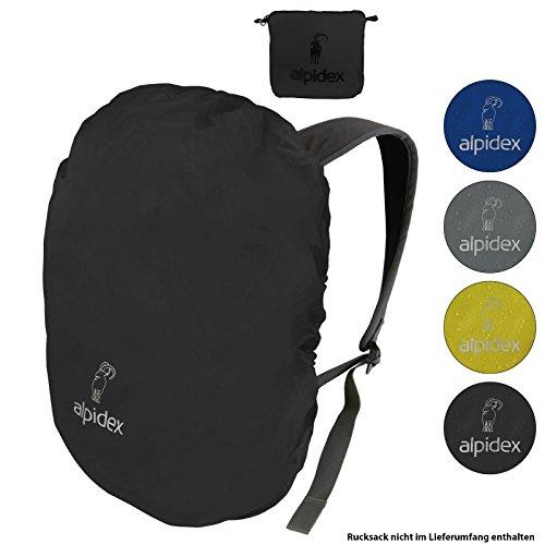 ALPIDEX Rucksack Regenschutz NO RAIN Regenhüllen Verschiedene Größen und Farben, für Rucksäcke Aller Marken, mit Kordelstopper und integriertem Packsack, Farbe:Black, Volumen:15-30 Liter