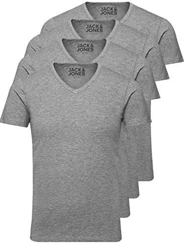 Jack and Jones Herren T-Shirt Basic V-Ausschnitt 4er Pack Einfarbig Slim Fit In Weiß Schwarz Blau  (XL, 4er Pack grau) -