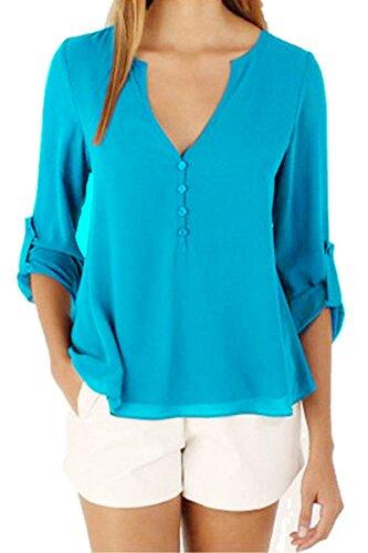 OMZIN Damen Casual Chiffon Sommer Bluse V-Ausschnitt Langarm Top Shirts Himmelblau XXL