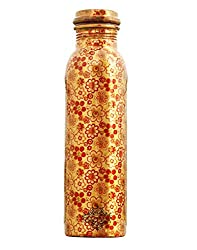 IndianArtVilla Printed Copper Water Bottle, Flower Design, Drinkware, 1000 ML, Golden