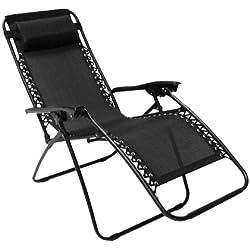 Sedia/Sdraio/Lettino reclinabile con poggiapiedi Zero Gravity - Nera