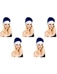 5 er Set Weihnachtsmütze Nikolausmütze Blau Kuschlig Weich Mütze Uni Farbe auch für Herren X19
