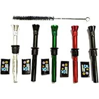 Outontrip- Set of 5 Multicolour Aluminium/Steel Shooter with Screen Filters and Bong Cleaner for Bong/Waterpipe (Set of 5)