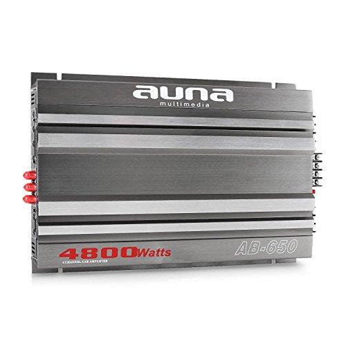 auna AB-650 • Car HiFi Verstärker • 6 Kanal Auto-Endstufe • Amplifier • Leistung: 4800 Watt max. • Hoch- / Niedrigpegel-Eingänge • regelbarer Tiefpass-Filter • Frequenzbereich: 20 Hz-20 kHz • Betriebs-LED • brückbar • 6/5/4/3-Kanal-Betrieb • grau-silber