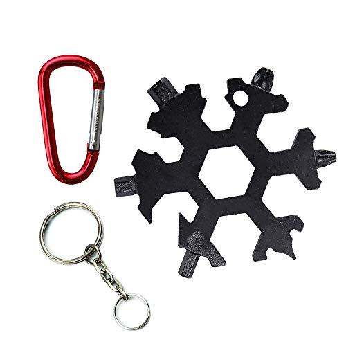 KINYOOO Multiherramienta Copo de Nieve | Tarjeta de Herramientas Snowflakes, Combinación de Tarjetas Multiusos 18 en 1 Productos para Exteriores Compactos y Portátiles (Negro)
