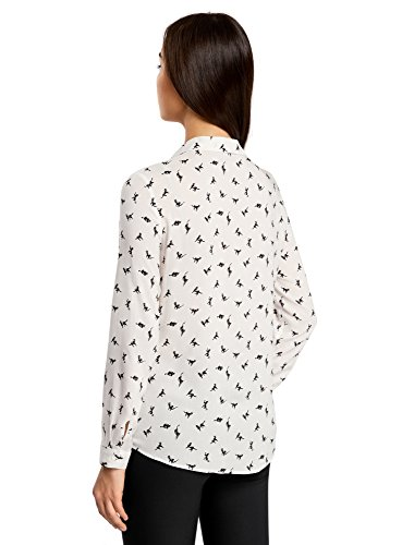oodji Ultra Damen Viskose-Bluse mit Druck Elfenbein (1229A)