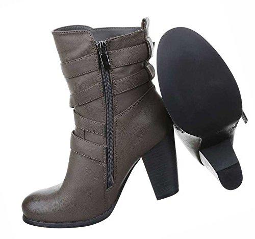 Damen Boots Schuhe Stiefeletten Schwarz Grau 36 37 38 39 40 41 Grau