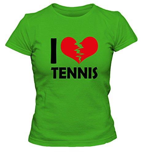 I don't love Tennis FUN Damen T-Shirt, Größe:XL;Farbe:grün (Schläger Tennis Agassi)