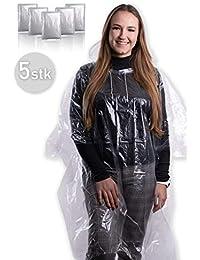 5X wasserdichter Regenponcho mit Kapuze und Kordelzug für Damen und Herren / Regencape / Regenmantel / Regenjacke [ Notfallponcho mit 100% Regenschutz durch 0.35mm Dickes PE ]