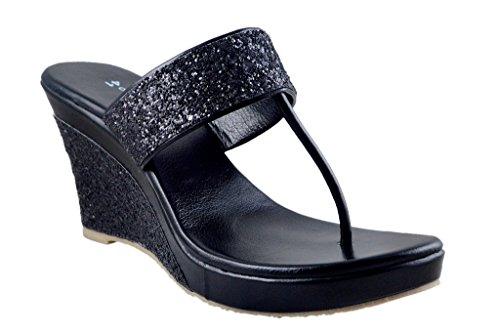 Olive Fashion Black Wedges Sandal