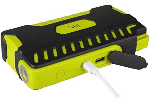 Kit Vehículo Jump Starter Power Bank 12000mAh, con Linterna integrada y Motores de Gasolina de Arranque para Coches y Motos (hasta 3,0l), Color Negro y Verde