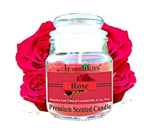 Arvedikas Natural Soy Wax Candle Blended with Rose Essential Oil & Soy Wax with Luxury Aroma Fragrance - Candles for Decoration Love - Glass Jar - Premium Scented Candle - Special Gifts for Diwali