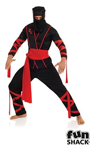 Ninja - Adult Kostüm - Medium - (Kostüm Mann Ninja)