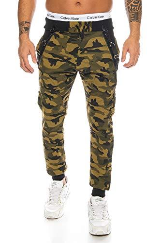 Herren Woodland Camouflage Camo (Raff &Taff Sweatpants im Camouflage Style inkl. Hosenträger Tarnhose Armyhose Hose Baggy Freizeithose Joggpants Sporthose Loose Fitness Jogginghose Pants 1118 Herren (M, Woodland Camo))