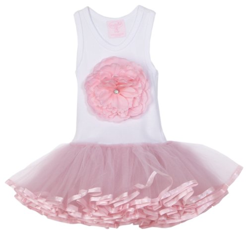 Mud Pie 192069 Pink Buds Tutu Dress Kleid weiß - Pie Kleider Mud
