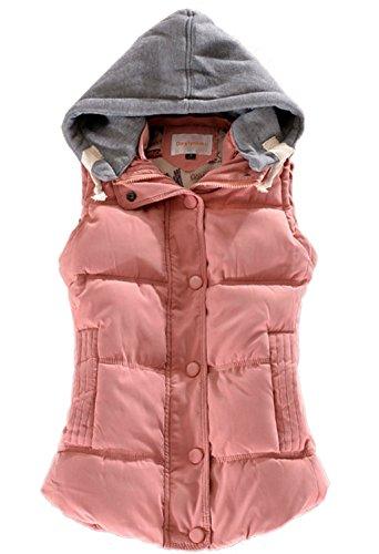 Tailloday Damen Herbst und Winter Sleeveless Abnehmbare Kapuze Gefutterte Baumwollweste Weste (XL, Rosa) (Weste Xl Damen)