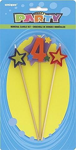 Unique Party - 34044 - Lot de 3 Bougies d'Anniversaire de Numéro 4 - Étoilées