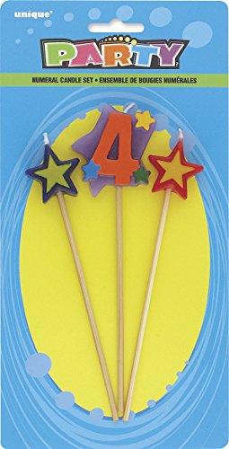 Unique Party- Conjunto de 3 velas de cumpleaños con forma de estrella, número 4 (34044)