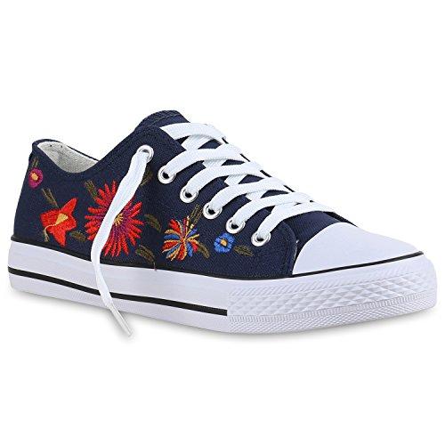 Damen Herren Kinder Unisex Schuhe Sneaker low Top Schnürschuh Halbhoch Blau Flower
