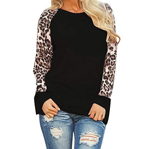Leopard Selbstgemacht Kostüm - JURTEE Damen Mode Langarm T-Shirt Leopard Langarm Patchwork Oberteile Übergröße Herbst Sweatshirt Bluse(XXXX-Large,Schwarz)