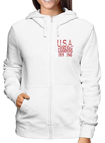 T-Shirtshock Sweatshirt Damen Hoodie Zip Weiss WTC0833 World war Champs Champ Zip Hoodie