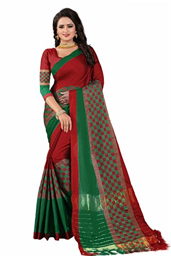 Manorath Women's Cotton Silk Saree With Blouse Piece Material (Box-Red)