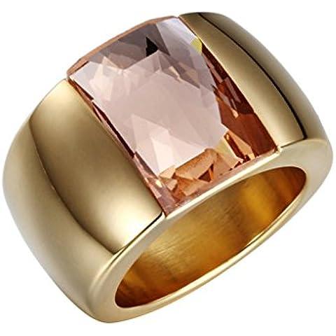 Bishilin 18K Placcato Oro Donna | Uomo Anello Fidanzamento con Cubi Zirconio
