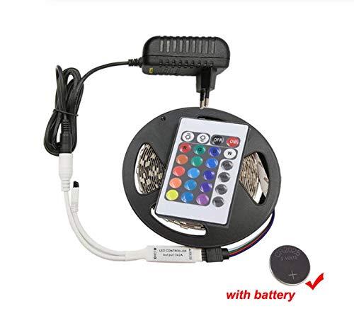 Luz de tira del LED DC12V RGB Cintas de neón de diodo de cinta 2835 15M  Impermeable Flexible Light String Con adaptador de controlador
