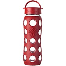Lifefactory Glas-Trinkflasche inkl. Silikonmantel, 650ml, Classic Cap, rot