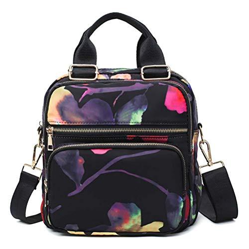 GaLon Multifunktionsrucksack Koreanische Version Von Oxford Tuch Druck Damentasche Handtasche Schulter Slung Umhängetasche Schulter Reise (Edition : Flower Black)